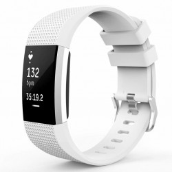 Fitbit Charge 2 armbånd silikone Hvid (L)