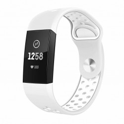 Fitbit Charge 3/4 armbånd silikone Hvid (S)