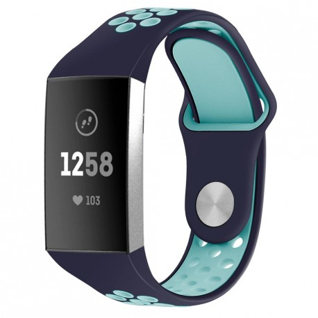Fitbit Charge 3/4 armbånd silikone Navy / Turkis (S)