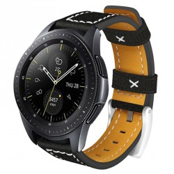 Smartwatch armbånd 20mm Samsung Gear S2 / Sport / Galaxy, Garmin - Læder / sort