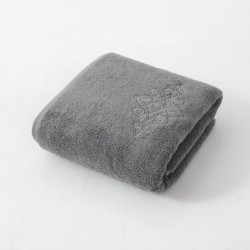 Embroidery,Creative 100%Cotton Thick Towel - Grey