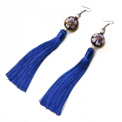China style Hand painted Wooden Bead and Long Tassel Pierced Hook Earrings