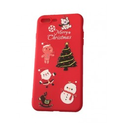 Merry Christmas phone case for iPhone 7/8 Plus Soft Silicone Cover - Red