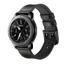 Armbånd Samsung Gear S3 Classic / Frontier / Galaxy Watch Leather - sort