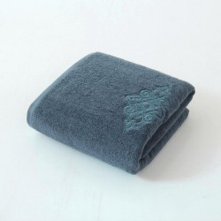 Embroidery,Creative 100%Cotton Thick Towel - Blue
