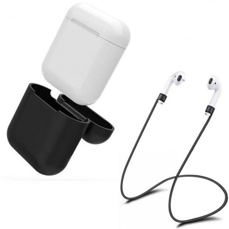 AirPod-stropper / holder med låg til opladningsetui - sort