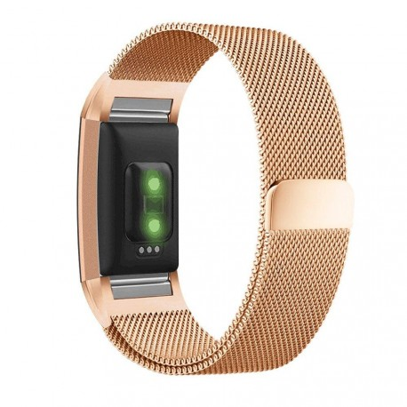 Fitbit Charge 2 armbånd, milanese loop - Rosegold - L