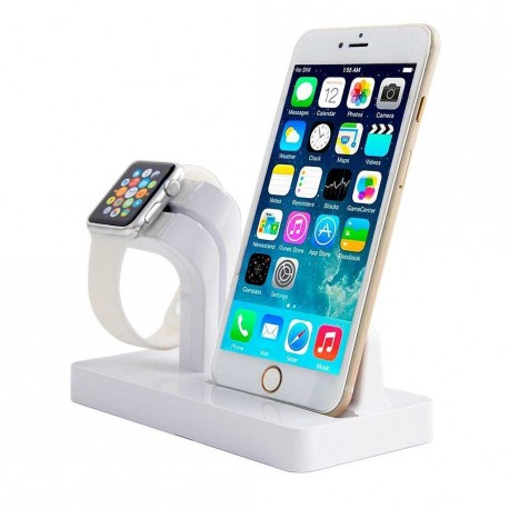 iPhone 5/6/7/8 og Apple Watch opladerdock hvid