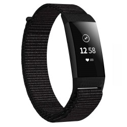 Fitbit Charge 3/4 armbånd nylon - sort