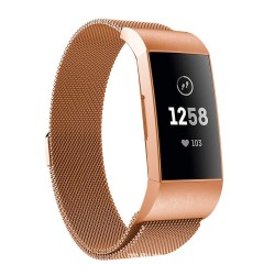 Fitbit Charge 3/4 armbånd Milanese loop Rose guld (S)